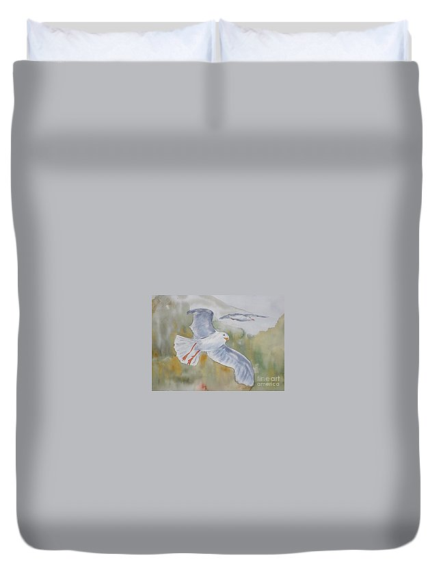 Souring Duvet Cover featuring the painting Seagulls Over Glacier Bay by Vicki Housel