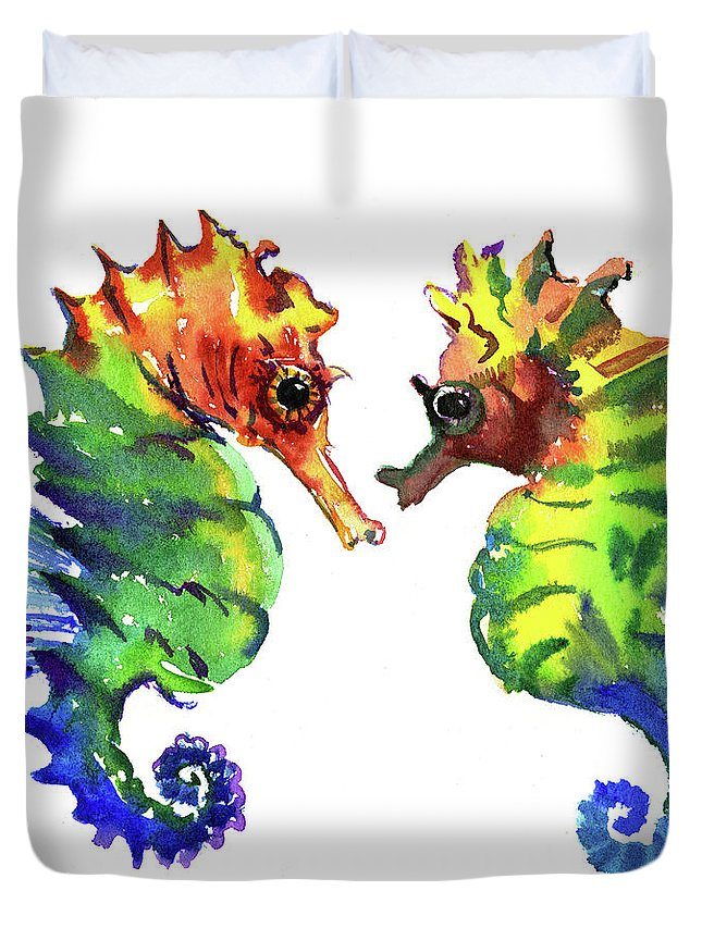 Seahorse Duvet Cover featuring the painting Seahorse Love by Suren Nersisyan