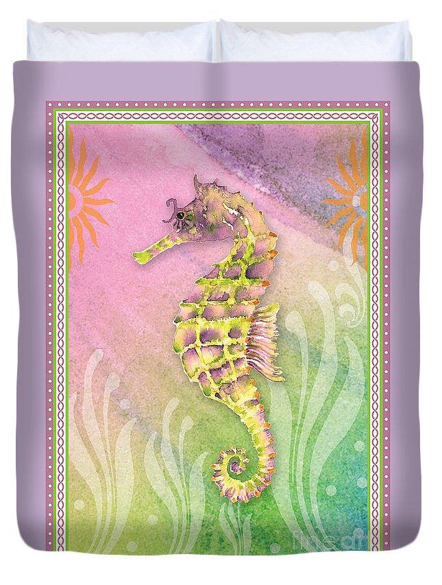 Purple Seahorse Duvet Cover featuring the painting Seahorse Violet by Amy Kirkpatrick