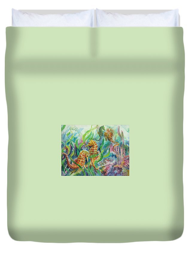 Seahorse Duvet Cover featuring the painting Seahorses Three by Deborah Younglao