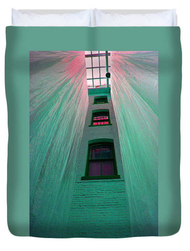 Architecture Duvet Cover featuring the photograph Sealed In Plastic by Deborah Napelitano
