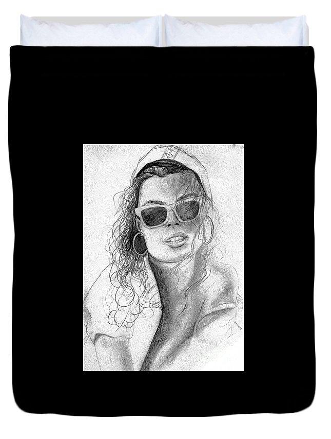 Sea Duvet Cover featuring the drawing Seame by Vicki Lynn Sodora