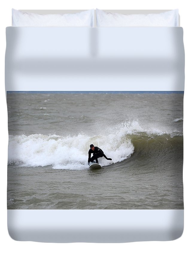 Duvet Cover featuring the photograph Sean 2 by Dave Johnson