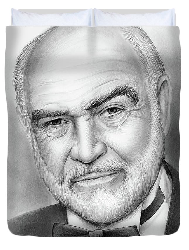 Sean Connery Duvet Cover featuring the drawing Sean Connery by Greg Joens