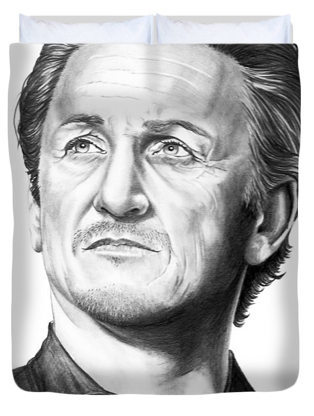Portrait Duvet Cover featuring the drawing Sean Penn by Murphy Elliott