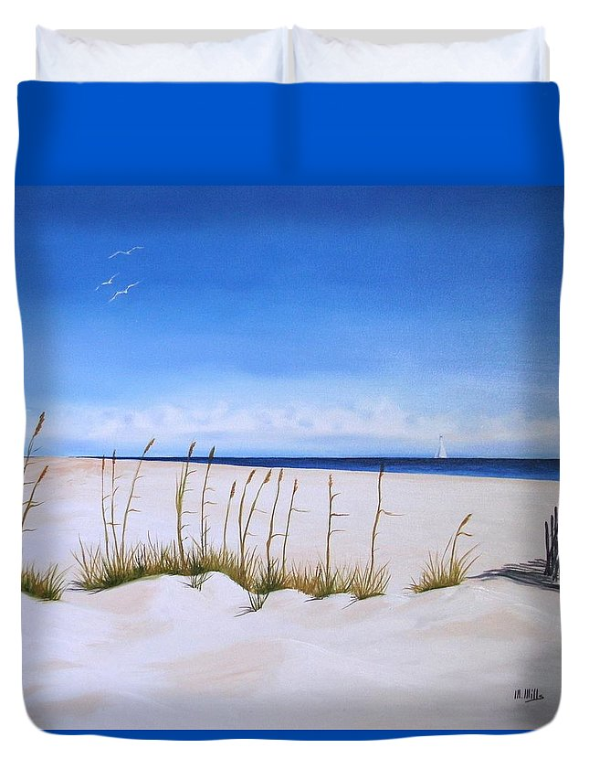 Beach Duvet Cover featuring the painting Seaoats by Maria Mills