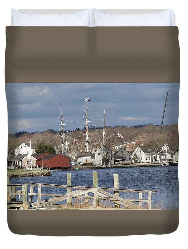 Sea Duvet Cover featuring the photograph Seaport Before The Storm by Deborah Napelitano
