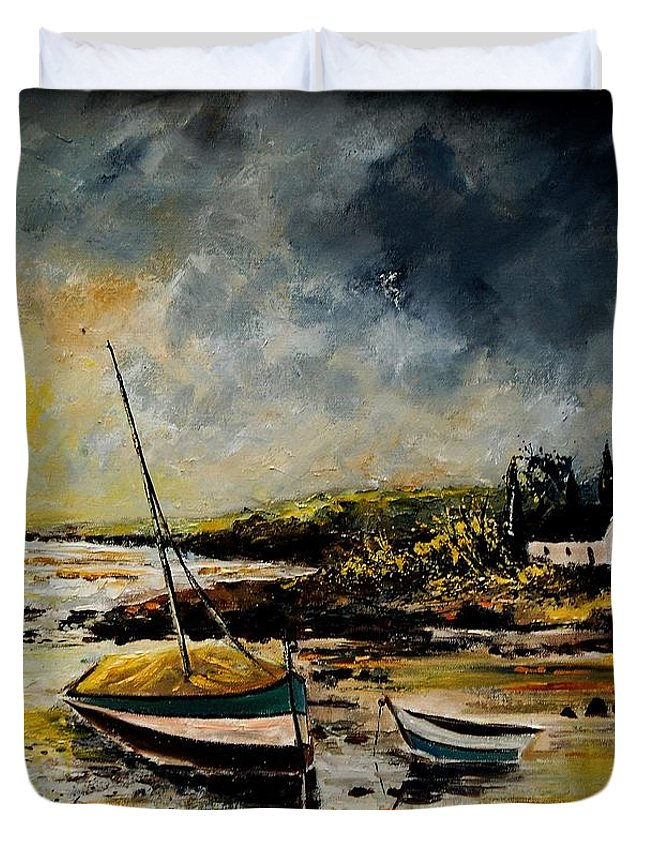 Sea Duvet Cover featuring the painting Seascape 452654 by Pol Ledent