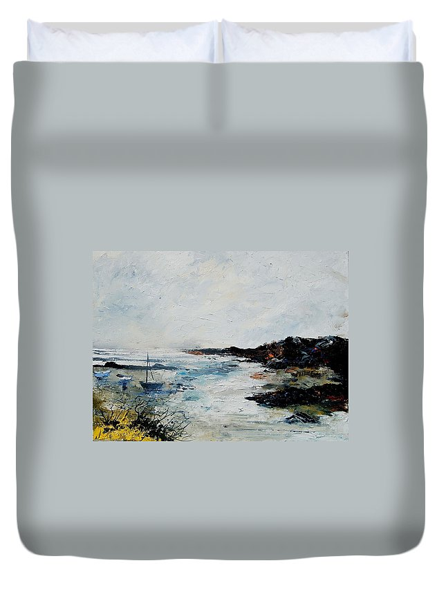 Sea Duvet Cover featuring the painting Seascape 68 by Pol Ledent