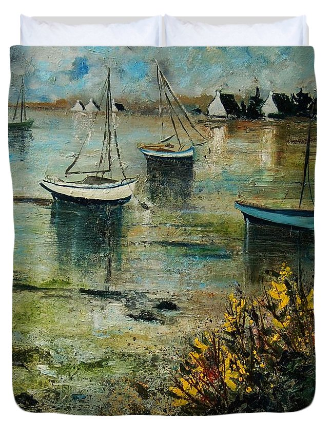 Seascape Duvet Cover featuring the print Seascape 78 by Pol Ledent
