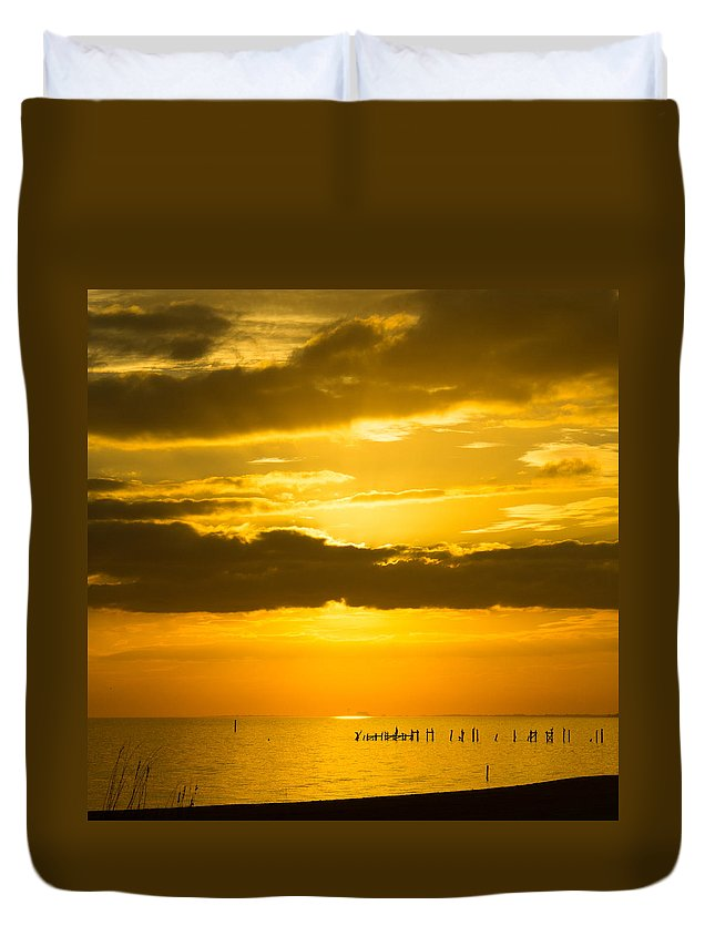 Port Duvet Cover featuring the photograph Seascape Gulf Coast, Ms G10i by Otri Park