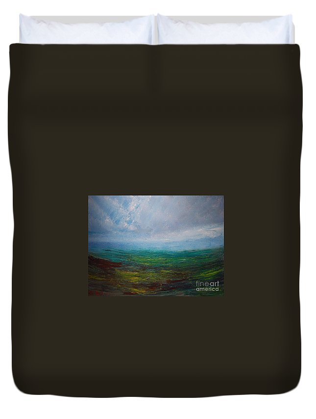 Duvet Cover featuring the painting Seascape by Mark Kazav
