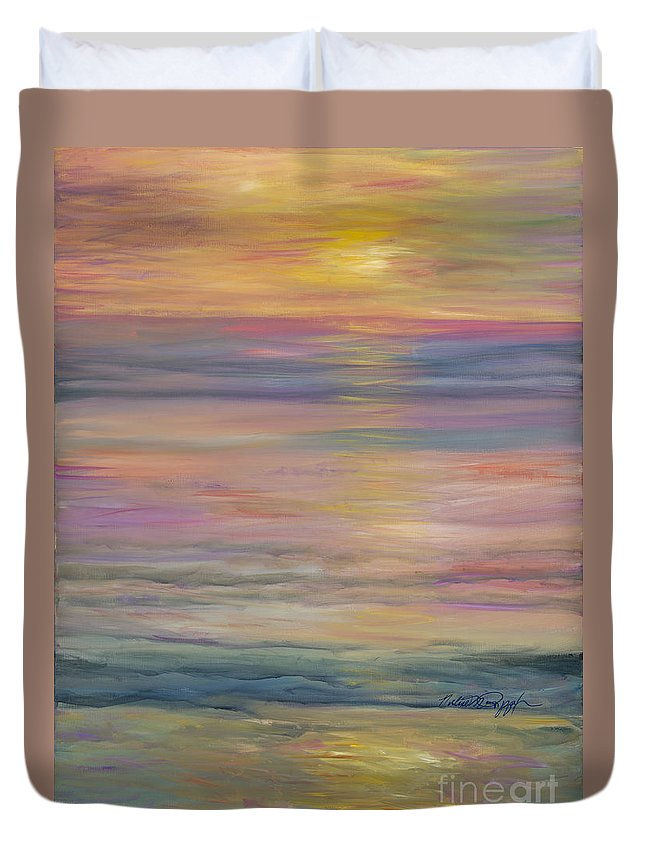 Sea Duvet Cover featuring the painting Seascape by Nadine Rippelmeyer