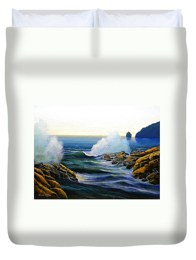 Seascape Duvet Cover featuring the painting Seascape Study 3 by Frank Wilson