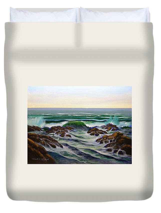 Seascape Duvet Cover featuring the painting Seascape Study 6 by Frank Wilson