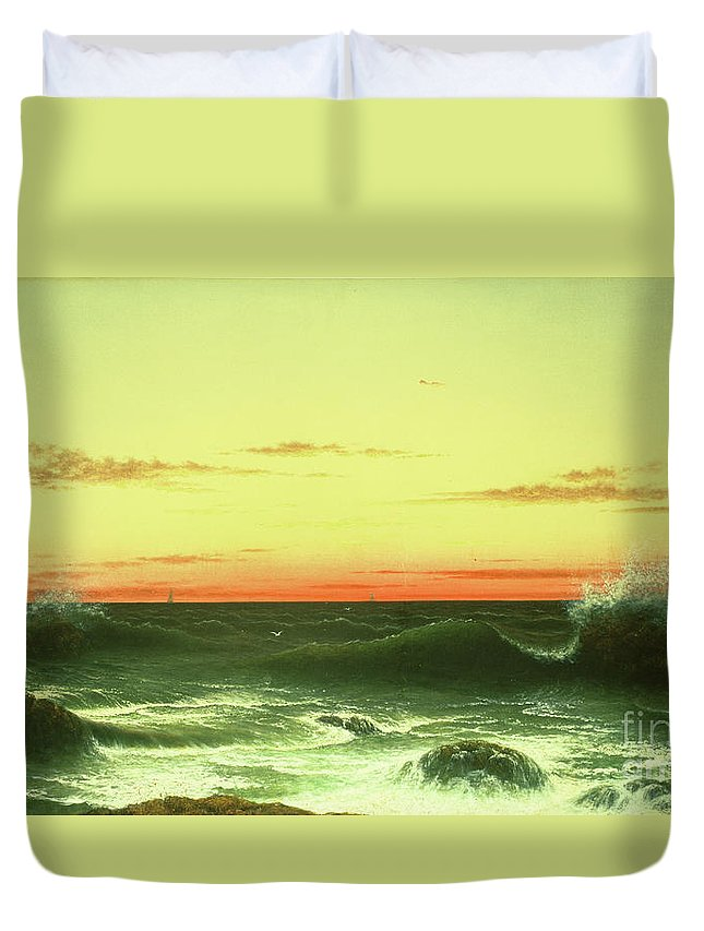 Seascape: Sunset Duvet Cover featuring the painting Seascape Sunset 1861 by Martin Johnson Heade