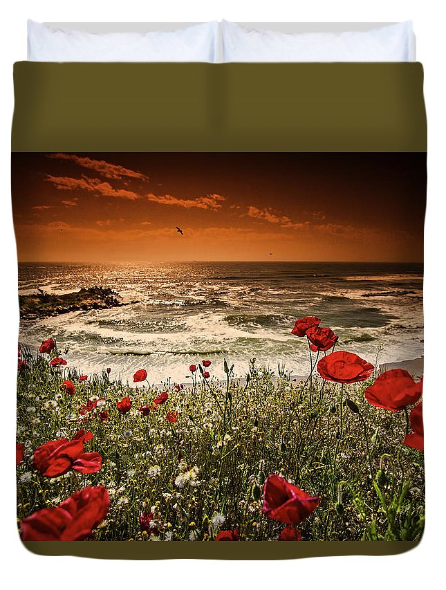 Landscape Duvet Cover featuring the photograph Seascape With Poppies by Dan Cristian Mihailescu