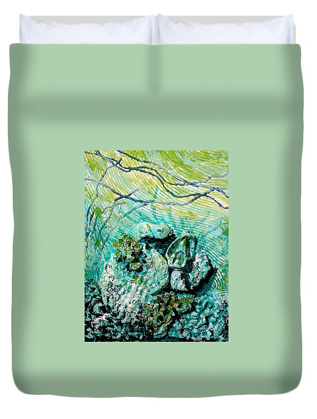 Seashell Duvet Cover featuring the sculpture Seashell Collage by Susan Kubes