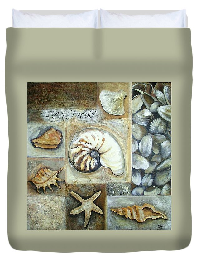 Collage Duvet Cover featuring the painting Seashells by Chris Hobel