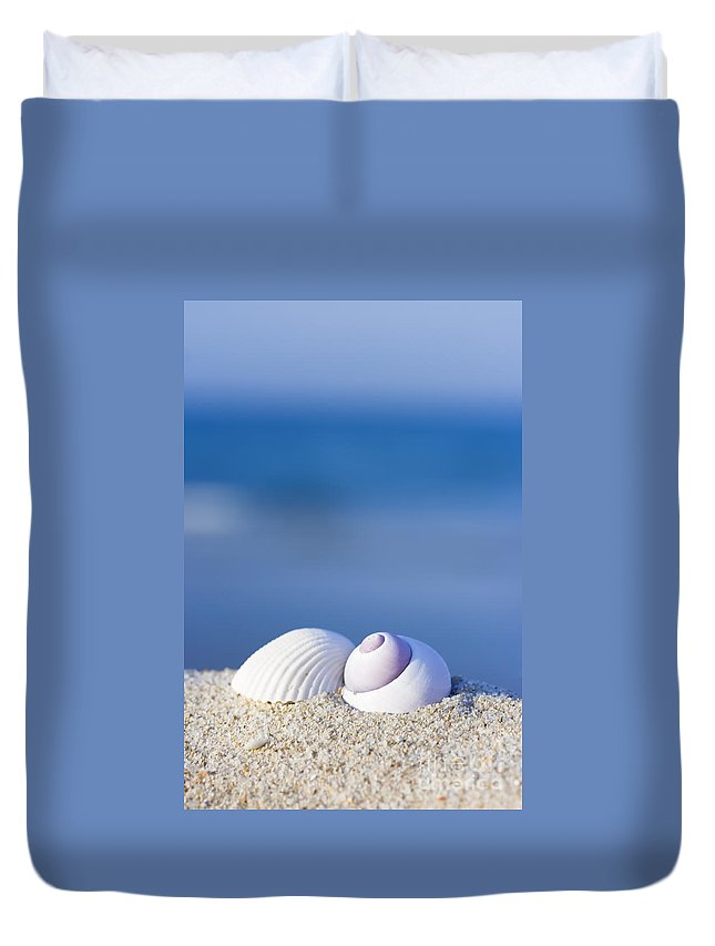 Seashell Duvet Cover featuring the photograph Seashells On The Beach by MotHaiBaPhoto Prints