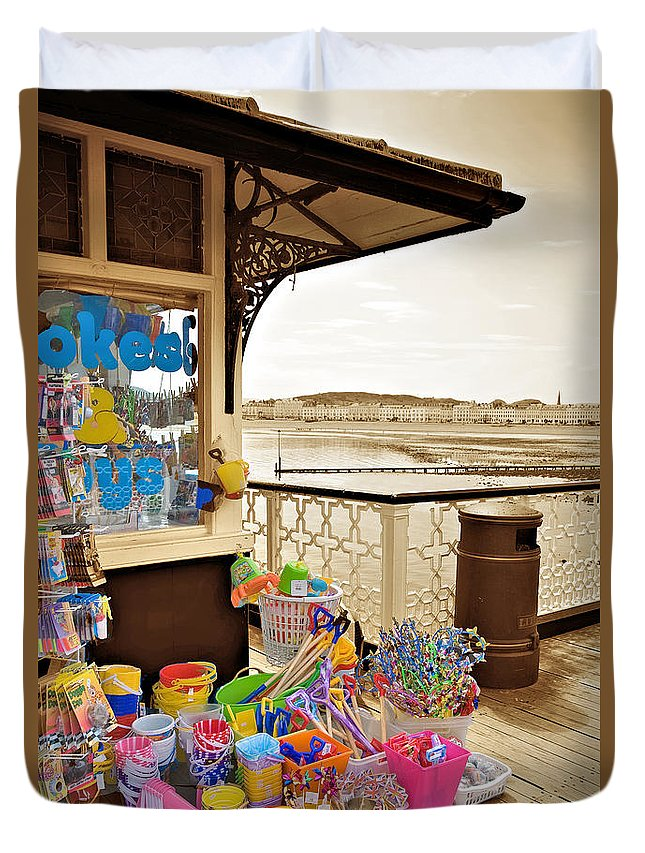 Seaside Duvet Cover featuring the photograph Seaside Buckets And Spades For Sale On Llandudno Pier by Mal Bray