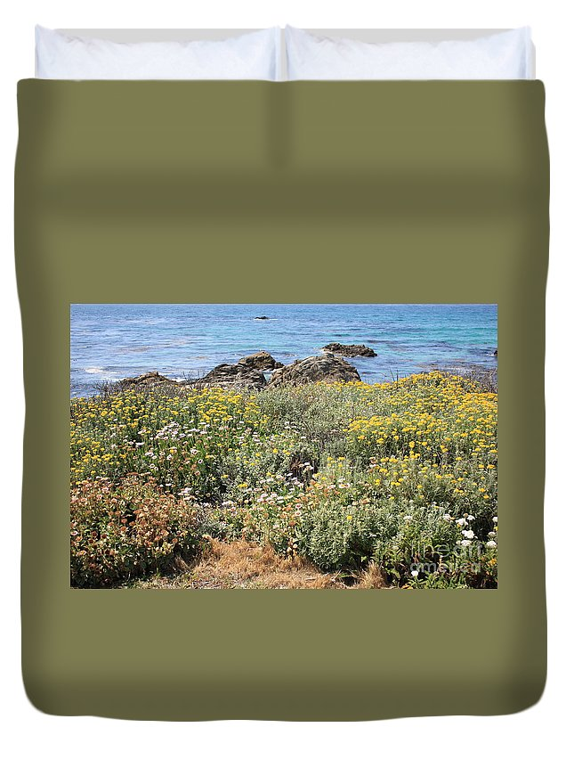 Seaside Flowers Duvet Cover featuring the photograph Seaside Flowers by Carol Groenen