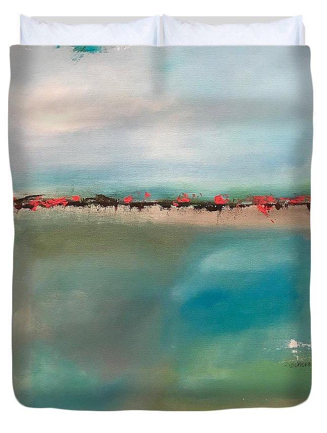 Seaside Duvet Cover featuring the painting Seaside Garden by Richy Sharshan