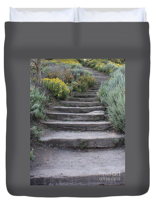 Seaside Steps Duvet Cover featuring the photograph Seaside Steps by Carol Groenen