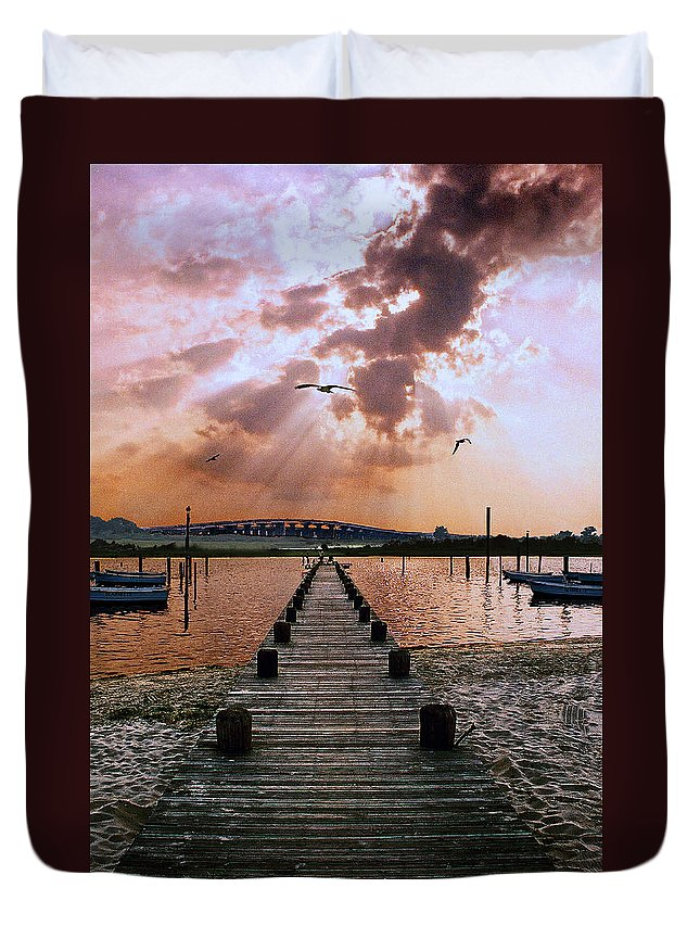 Seascape Duvet Cover featuring the photograph Seaside by Steve Karol