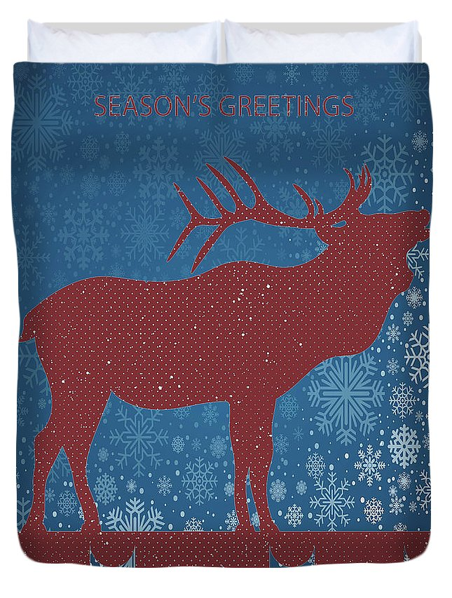 Seasonal Greetings Art Duvet Cover featuring the digital art Seasonal Greetings Artwork by OLena Art Brand