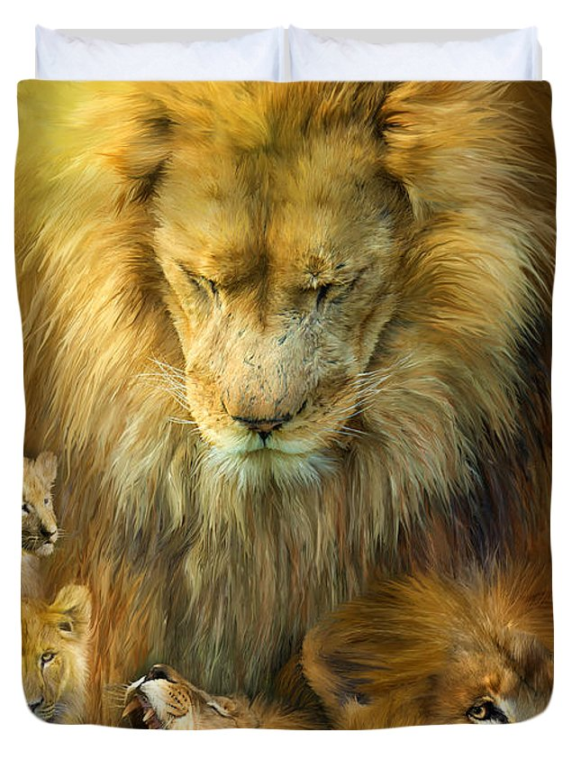 Carol Cavaoaris Duvet Cover featuring the mixed media Seasons Of The Lion by Carol Cavalaris