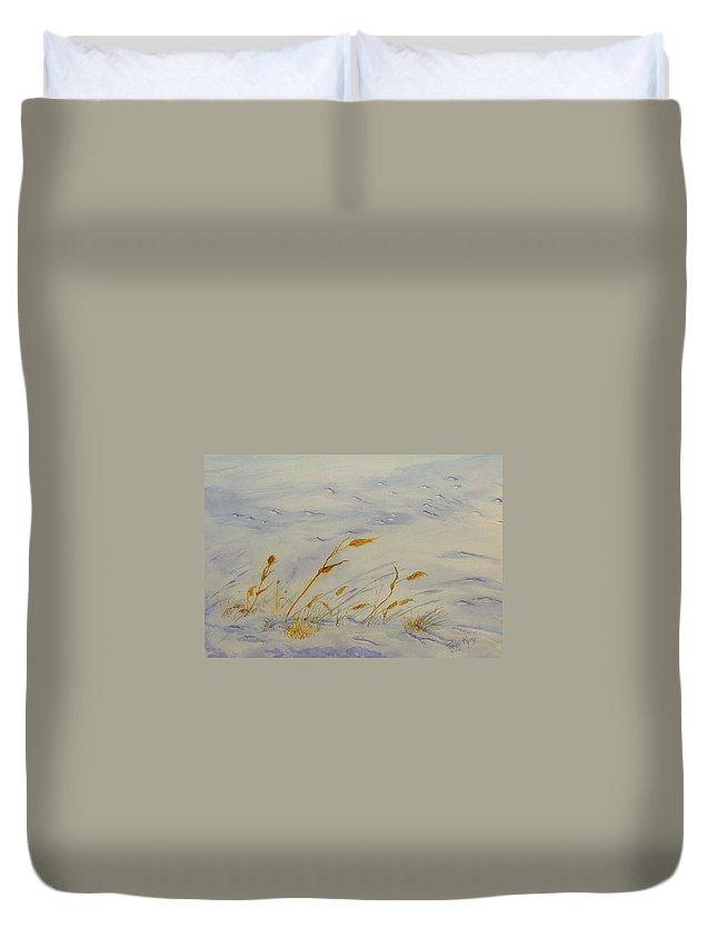Snow Duvet Cover featuring the painting Seasons Past by Peggy King