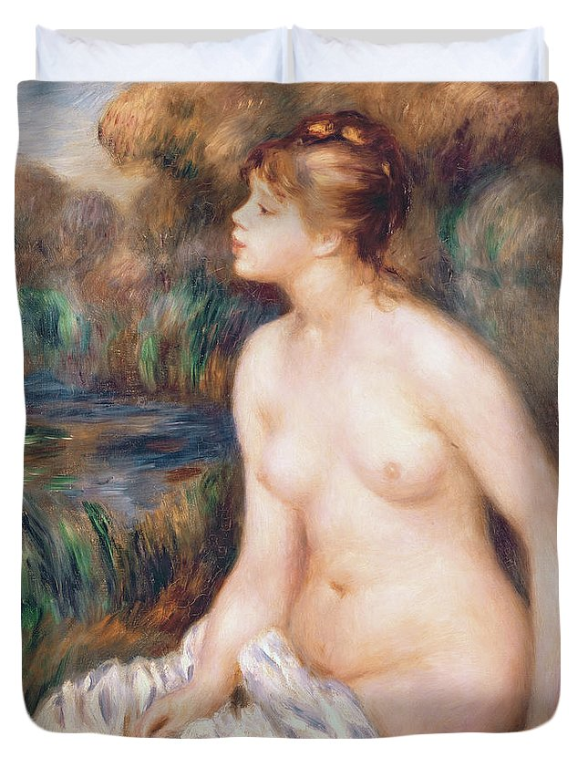 Seated Duvet Cover featuring the painting Seated Female Nude by Renoir
