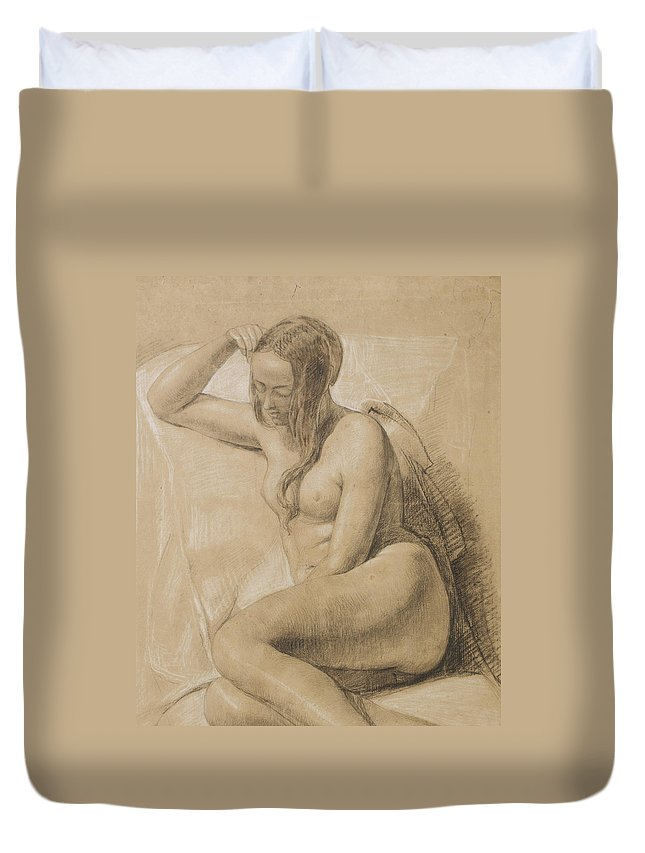 Nude Duvet Cover featuring the drawing Seated Female Nude by Sir John Everett Millais