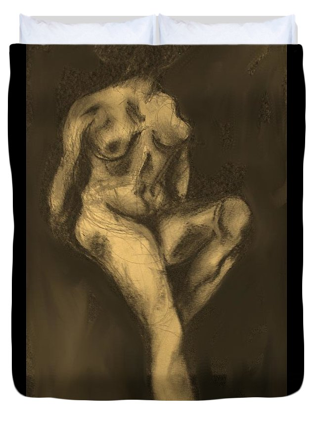 Nude Duvet Cover featuring the drawing Seated Pose by Ian MacDonald