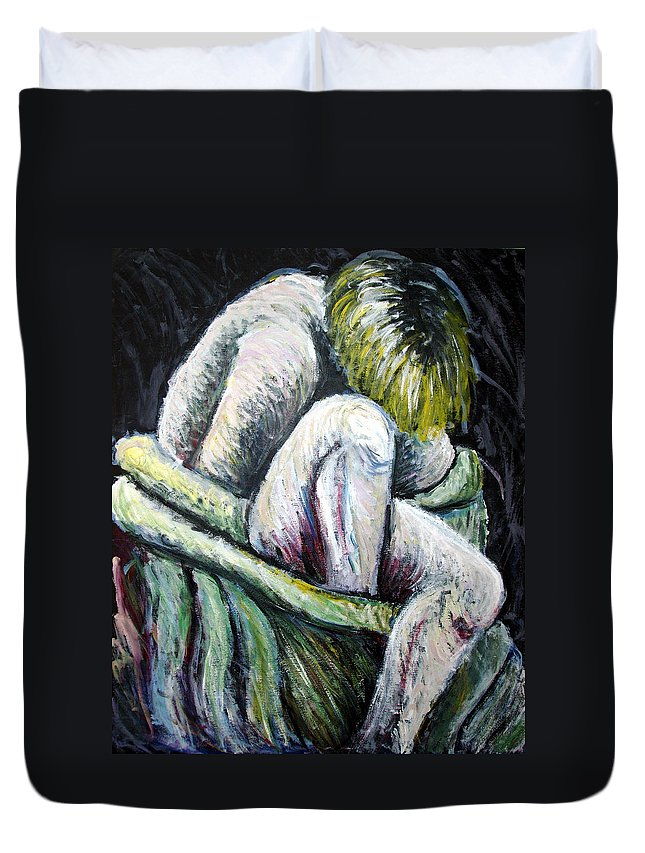 Woman Duvet Cover featuring the painting Seated Woman Abstract by Nancy Mueller