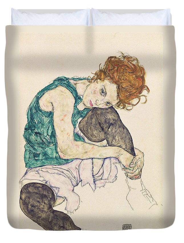 Egon Schiele Duvet Cover featuring the painting Seated Woman With Bent Knee by Egon Schiele