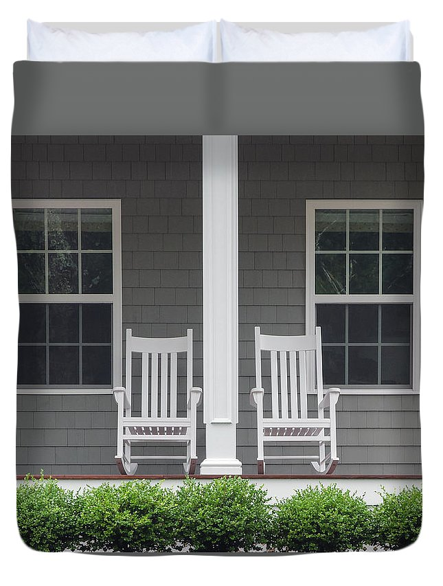 Porch Duvet Cover featuring the photograph Seating For Two by Keith Armstrong