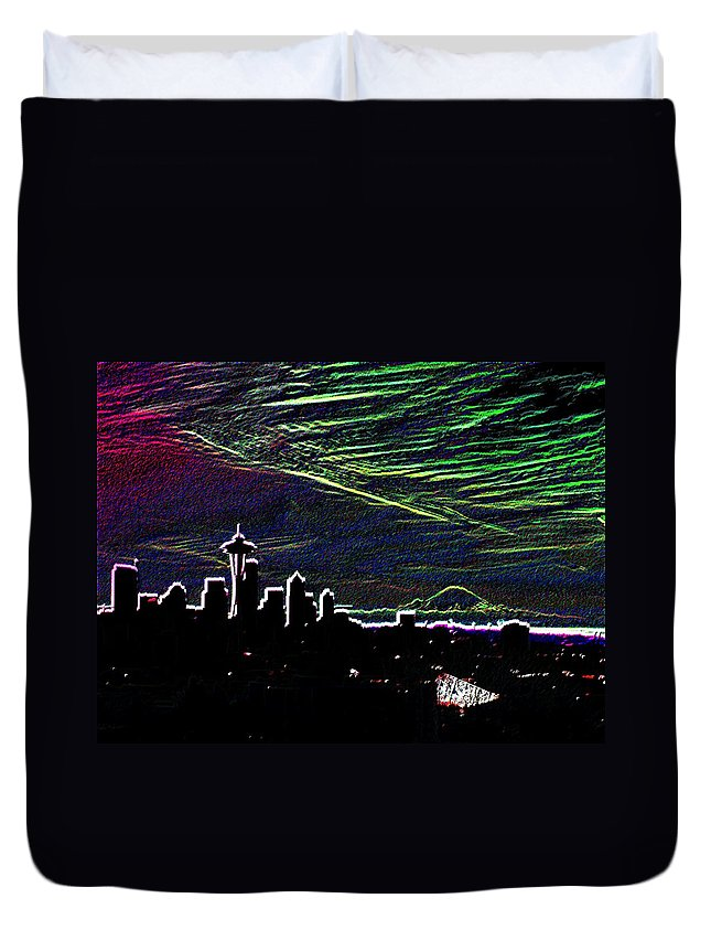 Seattle Duvet Cover featuring the digital art Seattle And Da Mountain by Tim Allen