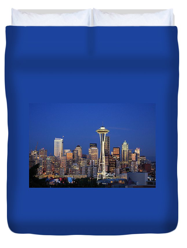 3scape Photos Duvet Cover featuring the photograph Seattle At Dusk by Adam Romanowicz