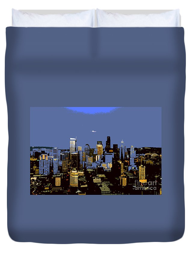 Seattle Washington Duvet Cover featuring the painting Seattle City by David Lee Thompson