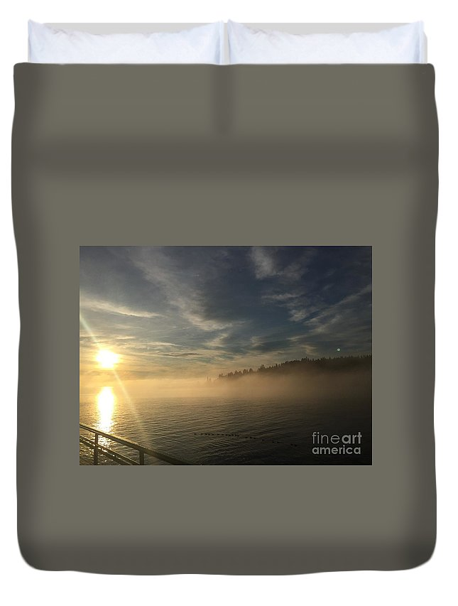 Fog Duvet Cover featuring the photograph Seattle Morning Fog by LeLa Becker