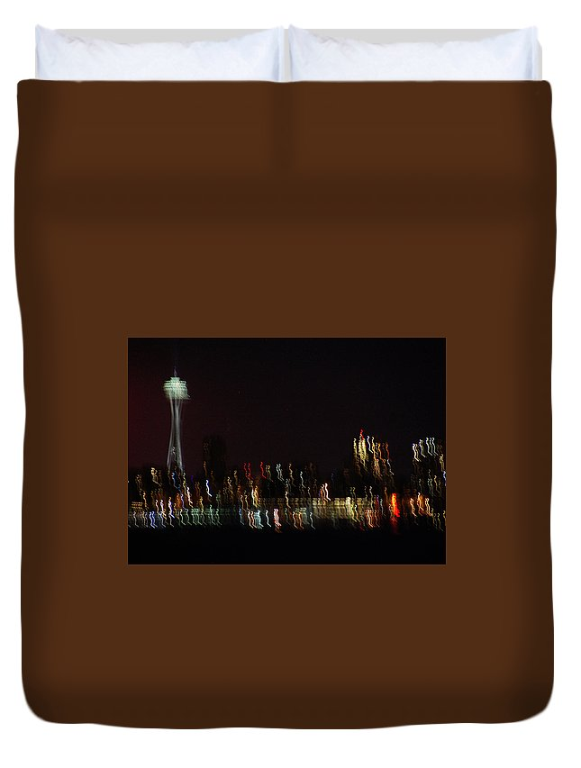 Seattle Duvet Cover featuring the photograph Seattle Nightlights by Jeri Vaughn