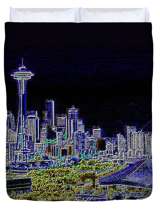Seattle Duvet Cover featuring the photograph Seattle Quintessence by Tim Allen