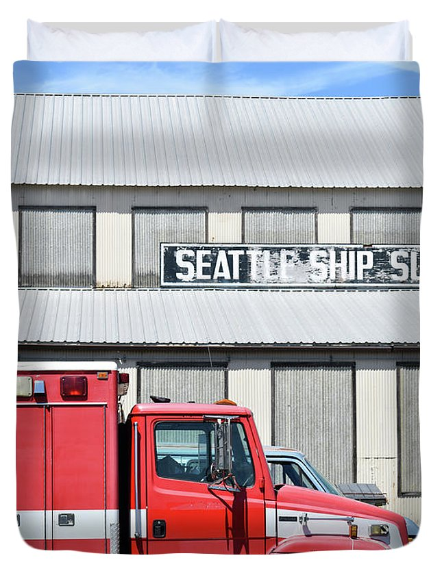 Red Duvet Cover featuring the photograph Seattle Ship Supply 1 by Grant Letz