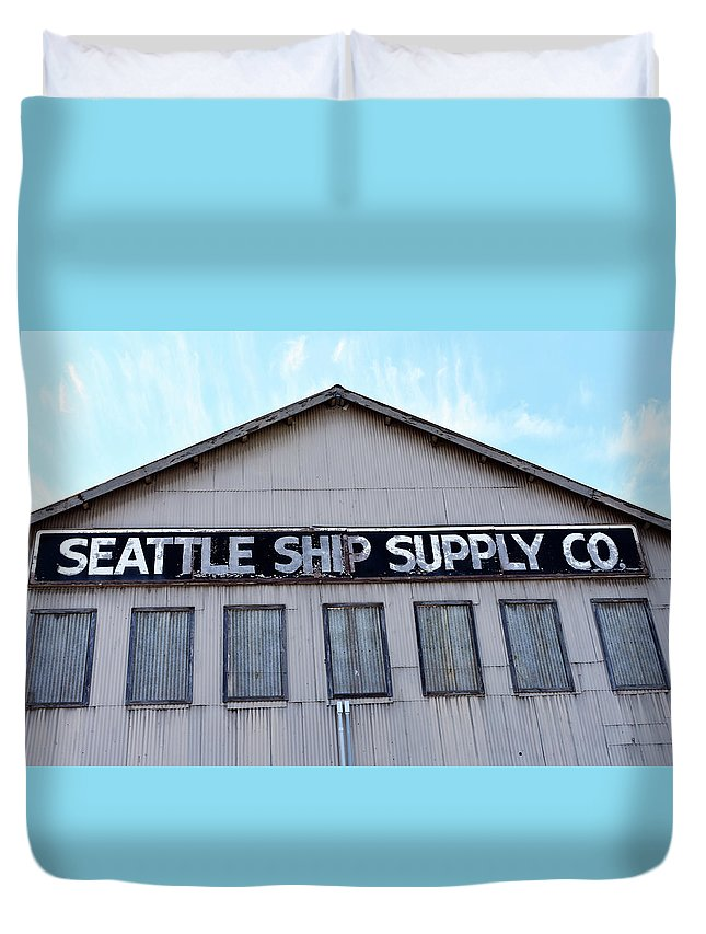 Blue Duvet Cover featuring the photograph Seattle Ship Supply 2 by Grant Letz