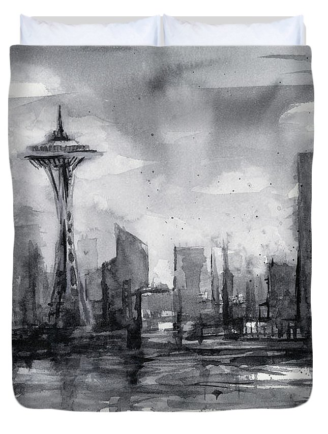 Seattle Duvet Cover featuring the painting Seattle Skyline Painting Watercolor by Olga Shvartsur