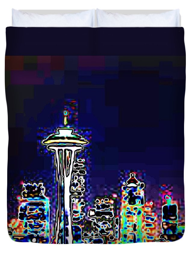 Seattle Duvet Cover featuring the photograph Seattle Skyline by Tim Allen