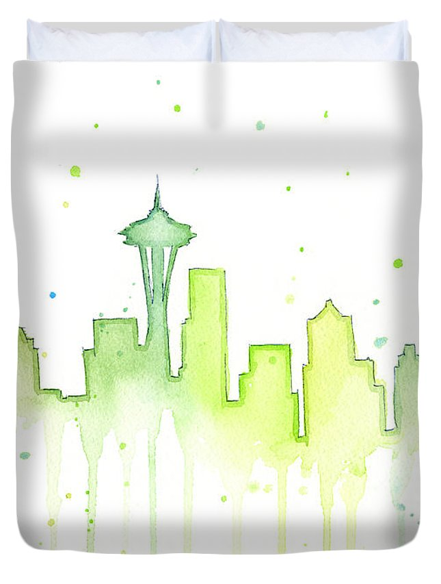 Seattle Duvet Cover featuring the painting Seattle Skyline Watercolor by Olga Shvartsur