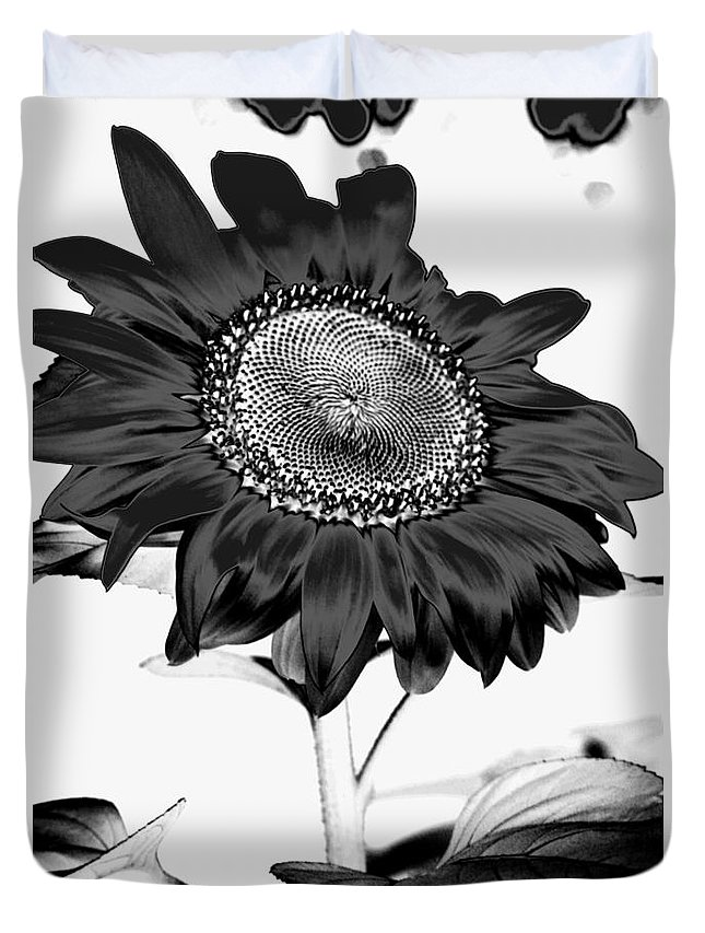 Black And White Photography Duvet Cover featuring the photograph Seattle Sunflower Bw Invert - Stronger by Heather Kirk